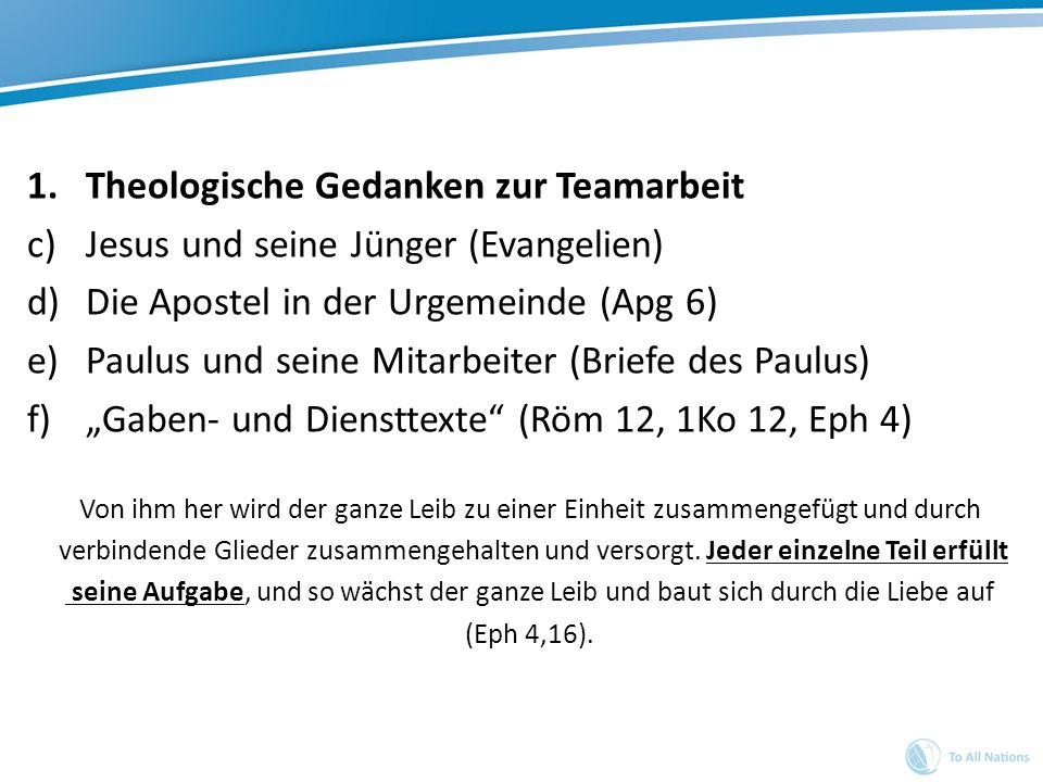 1.Theologische Gedanken zur Teamarbeit c)Jesus und seine Jünger (Evangelien) d)Die Apostel in der Urgemeinde (Apg 6) e)Paulus und seine Mitarbeiter (B