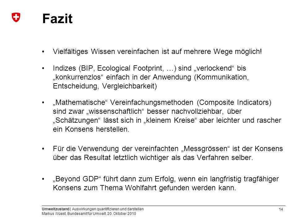 14 Umweltzustand | Auswirkungen quantifizieren und darstellen Markus Wüest, Bundesamt für Umwelt, 20. Oktober 2010 Fazit Vielfältiges Wissen vereinfac