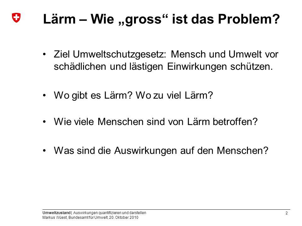 2 Umweltzustand | Auswirkungen quantifizieren und darstellen Markus Wüest, Bundesamt für Umwelt, 20. Oktober 2010 Lärm – Wie gross ist das Problem? Zi