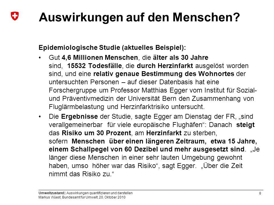 8 Umweltzustand | Auswirkungen quantifizieren und darstellen Markus Wüest, Bundesamt für Umwelt, 20. Oktober 2010 Auswirkungen auf den Menschen? Epide