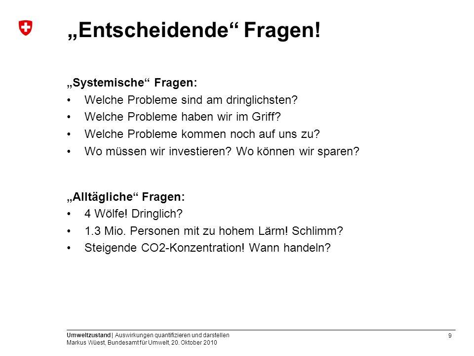 9 Umweltzustand | Auswirkungen quantifizieren und darstellen Markus Wüest, Bundesamt für Umwelt, 20. Oktober 2010 Entscheidende Fragen! Systemische Fr