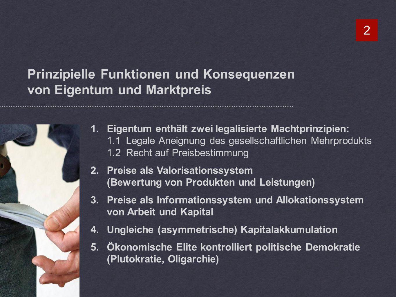 Prinzipielle Funktionen und Konsequenzen von Eigentum und Marktpreis 2 1.Eigentum enthält zwei legalisierte Machtprinzipien: 1.1 Legale Aneignung des gesellschaftlichen Mehrprodukts 1.2Recht auf Preisbestimmung 2.Preise als Valorisationssystem (Bewertung von Produkten und Leistungen) 3.Preise als Informationssystem und Allokationssystem von Arbeit und Kapital 4.Ungleiche (asymmetrische) Kapitalakkumulation 5.Ökonomische Elite kontrolliert politische Demokratie (Plutokratie, Oligarchie)