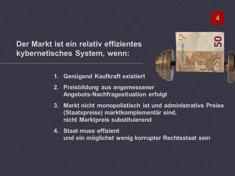Der Markt ist ein relativ effizientes kybernetisches System, wenn: 4 1.Genügend Kaufkraft existiert 2.Preisbildung aus angemessener Angebots-Nachfragesituation erfolgt 3.Markt nicht monopolistisch ist und administrative Preise (Staatspreise) marktkomplementär sind, nicht Marktpreis substituierend 4.Staat muss effizient und ein möglichst wenig korrupter Rechtsstaat sein