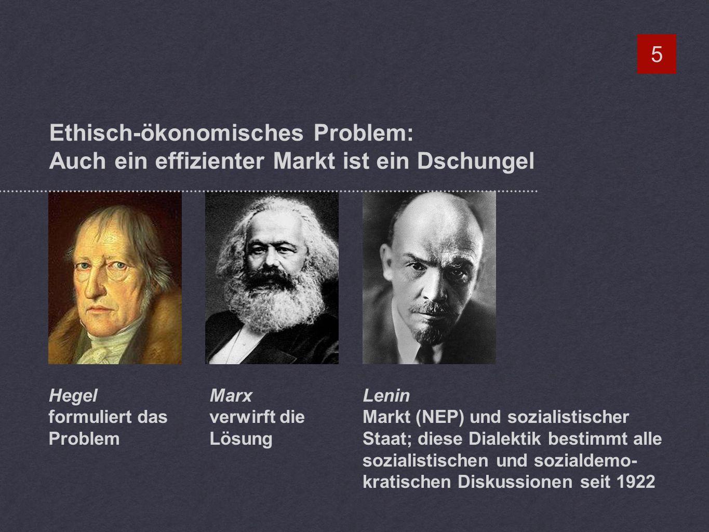 Ethisch-ökonomisches Problem: Auch ein effizienter Markt ist ein Dschungel 5 Hegel formuliert das Problem Marx verwirft die Lösung Lenin Markt (NEP) und sozialistischer Staat; diese Dialektik bestimmt alle sozialistischen und sozialdemo- kratischen Diskussionen seit 1922
