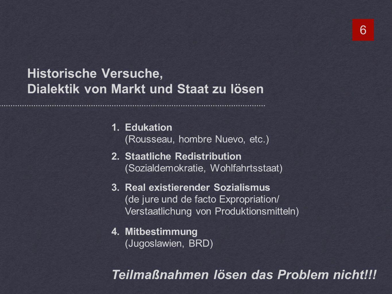 Historische Versuche, Dialektik von Markt und Staat zu lösen 6 1.Edukation (Rousseau, hombre Nuevo, etc.) 2.