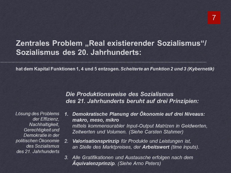 Zentrales Problem Real existierender Sozialismus/ Sozialismus des 20.