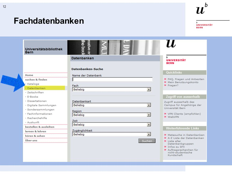 12 Fachdatenbanken