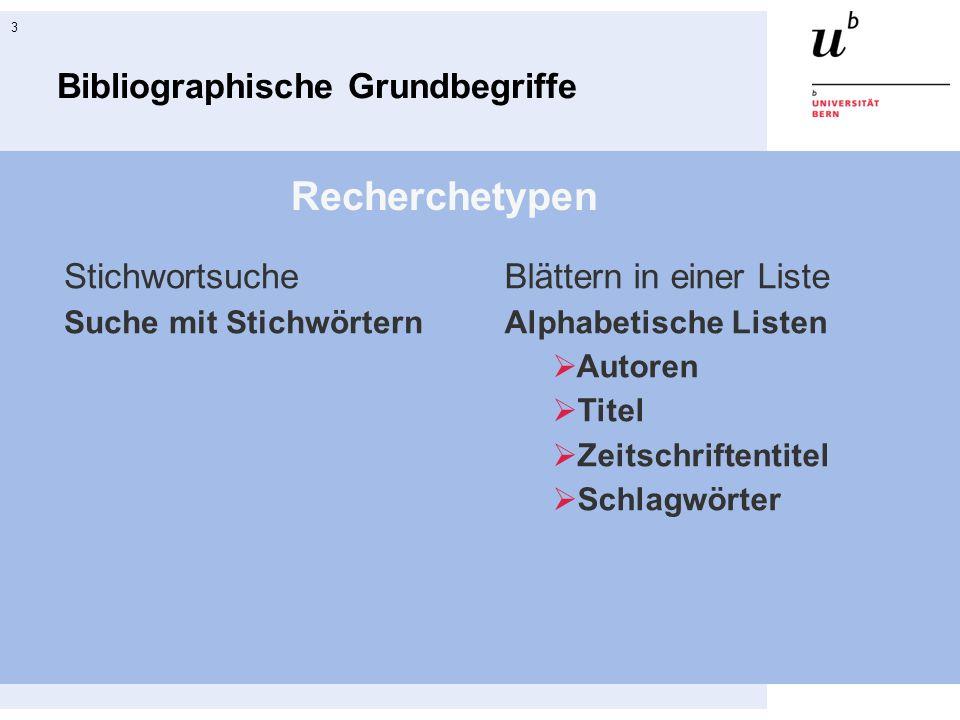 3 Bibliographische Grundbegriffe Recherchetypen Stichwortsuche Suche mit Stichwörtern Blättern in einer Liste Alphabetische Listen Autoren Titel Zeits