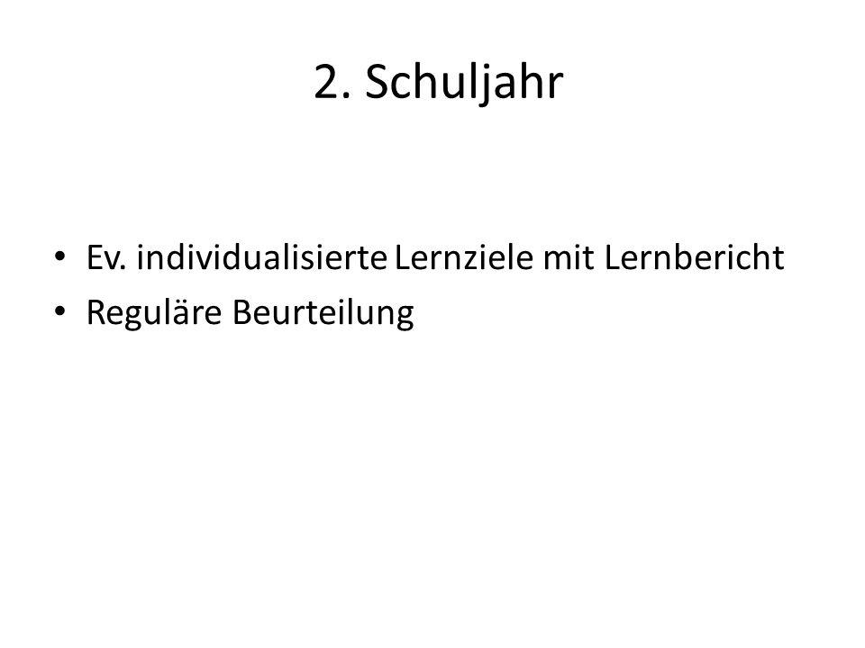 2. Schuljahr Ev. individualisierte Lernziele mit Lernbericht Reguläre Beurteilung