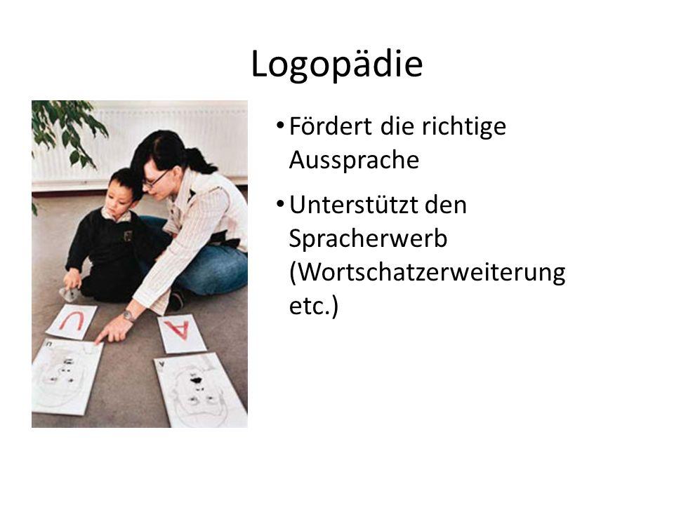 Logopädie Fördert die richtige Aussprache Unterstützt den Spracherwerb (Wortschatzerweiterung etc.)
