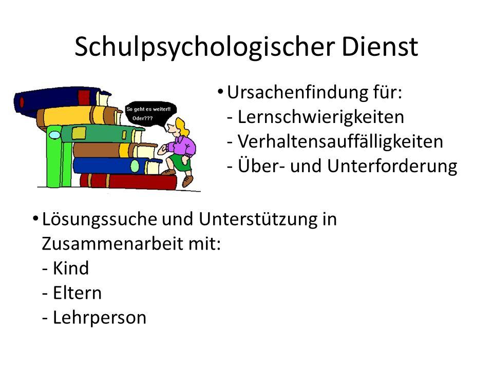 Schulpsychologischer Dienst Ursachenfindung für: - Lernschwierigkeiten - Verhaltensauffälligkeiten - Über- und Unterforderung Lösungssuche und Unterstützung in Zusammenarbeit mit: - Kind - Eltern - Lehrperson