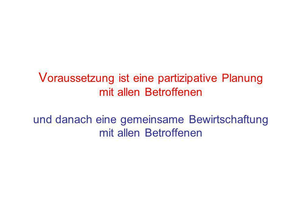 V oraussetzung ist eine partizipative Planung mit allen Betroffenen und danach eine gemeinsame Bewirtschaftung mit allen Betroffenen