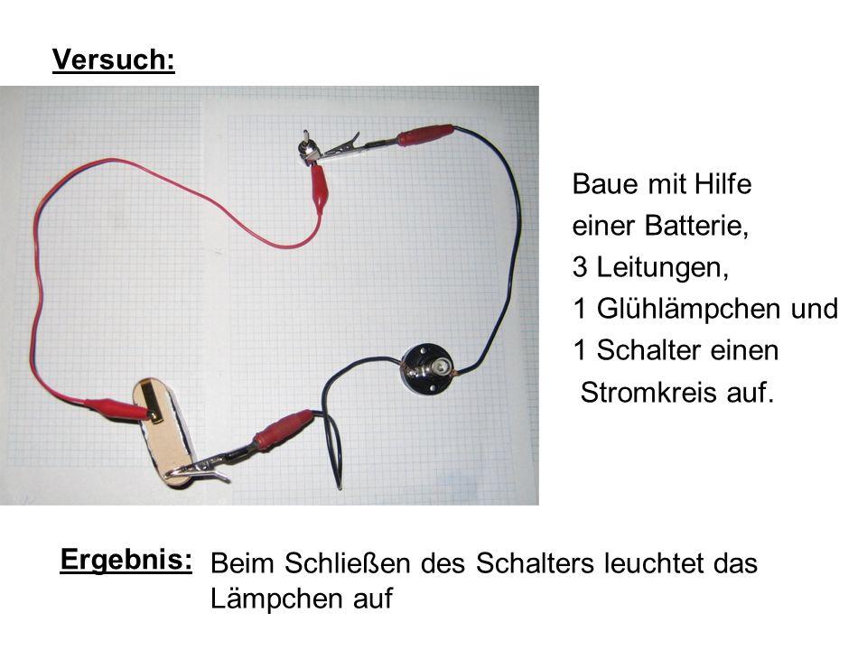 Versuch: Baue mit Hilfe einer Batterie, 3 Leitungen, 1 Glühlämpchen und 1 Schalter einen Stromkreis auf. Ergebnis: Beim Schließen des Schalters leucht