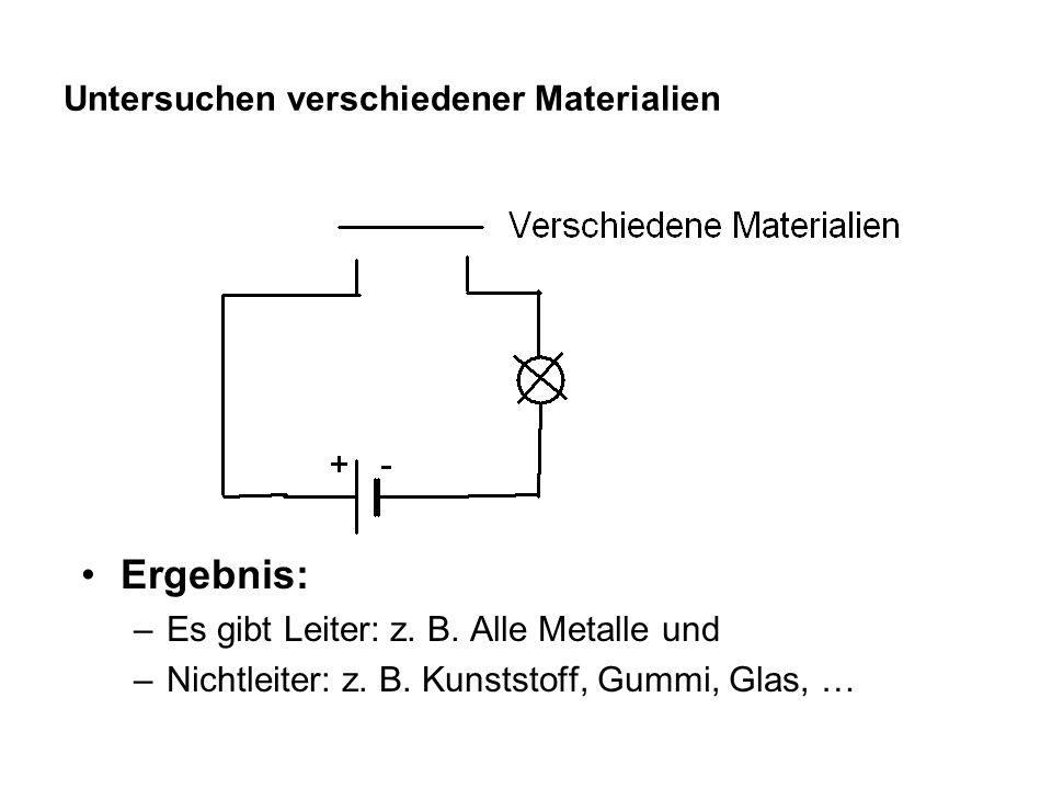 Untersuchen verschiedener Materialien Ergebnis: –Es gibt Leiter: z. B. Alle Metalle und –Nichtleiter: z. B. Kunststoff, Gummi, Glas, …