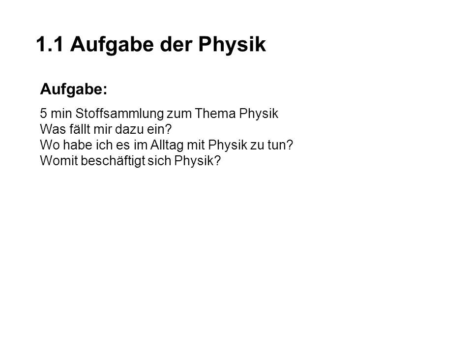 1.1 Aufgabe der Physik Aufgabe: 5 min Stoffsammlung zum Thema Physik Was fällt mir dazu ein? Wo habe ich es im Alltag mit Physik zu tun? Womit beschäf