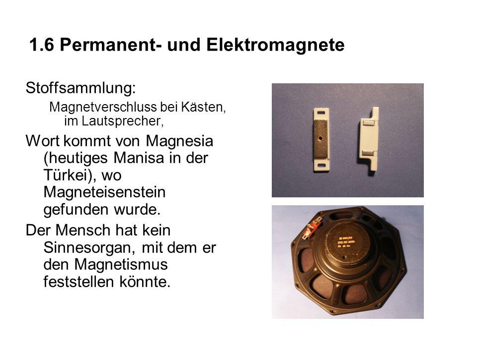 1.6 Permanent- und Elektromagnete Stoffsammlung: Magnetverschluss bei Kästen, im Lautsprecher, Wort kommt von Magnesia (heutiges Manisa in der Türkei)