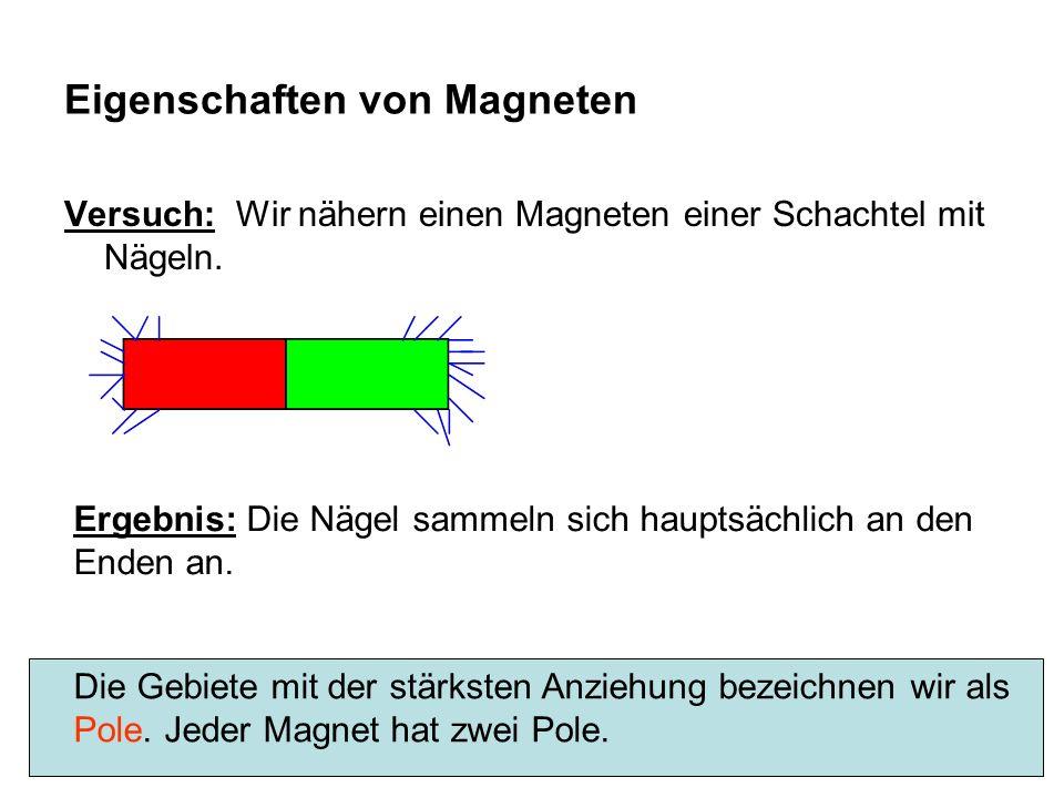 Eigenschaften von Magneten Versuch: Wir nähern einen Magneten einer Schachtel mit Nägeln. Ergebnis: Die Nägel sammeln sich hauptsächlich an den Enden