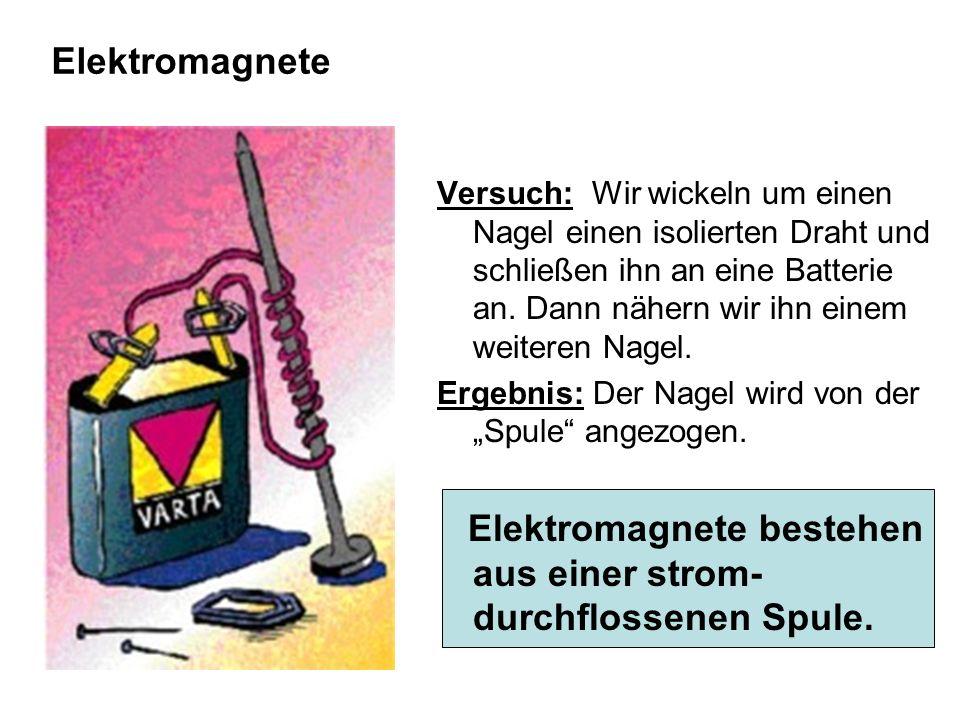 Elektromagnete Versuch: Wir wickeln um einen Nagel einen isolierten Draht und schließen ihn an eine Batterie an. Dann nähern wir ihn einem weiteren Na