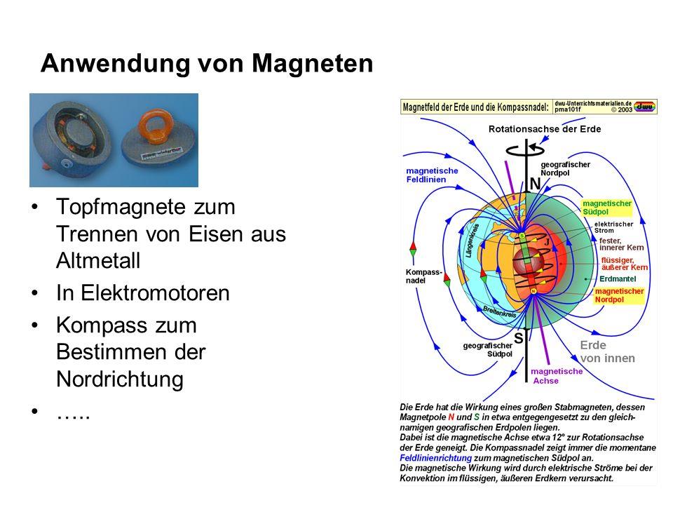 Anwendung von Magneten Topfmagnete zum Trennen von Eisen aus Altmetall In Elektromotoren Kompass zum Bestimmen der Nordrichtung …..