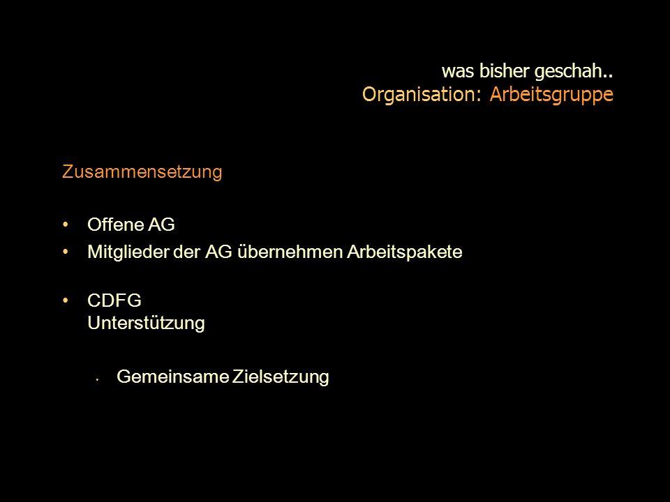 was bisher geschah.. Organisation: Arbeitsgruppe Zusammensetzung Offene AG Mitglieder der AG übernehmen Arbeitspakete CDFG Unterstützung Gemeinsame Zi