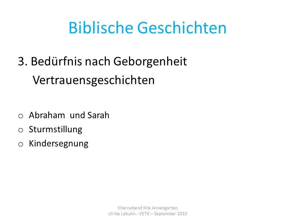 Biblische Geschichten 3. Bedürfnis nach Geborgenheit Vertrauensgeschichten o Abraham und Sarah o Sturmstillung o Kindersegnung Elternabend Kita Anneng
