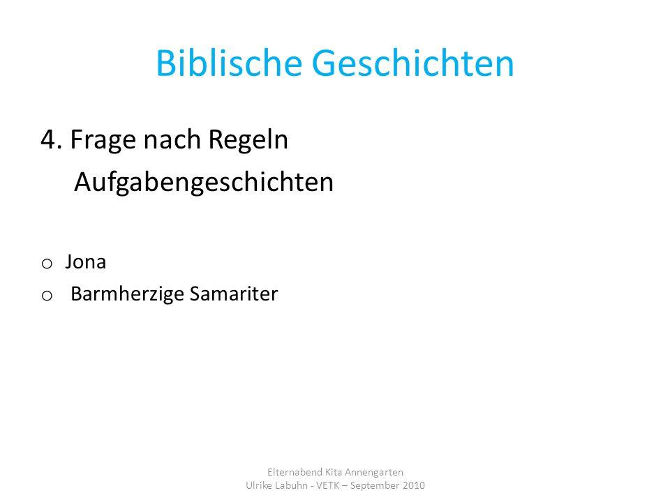Biblische Geschichten 4. Frage nach Regeln Aufgabengeschichten o Jona o Barmherzige Samariter Elternabend Kita Annengarten Ulrike Labuhn - VETK – Sept