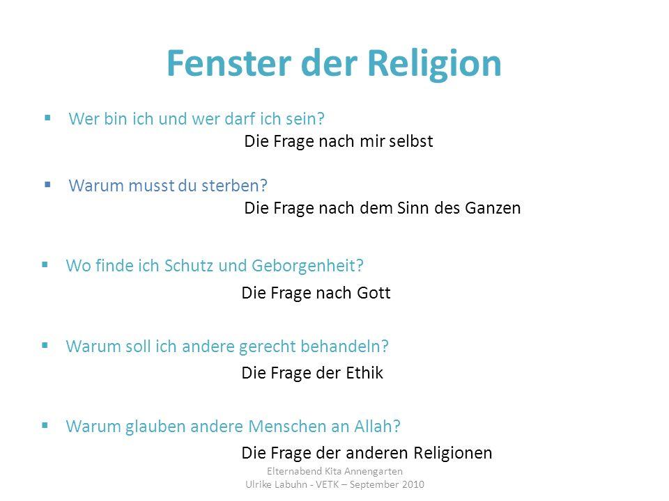 Fenster der Religion Wo finde ich Schutz und Geborgenheit? Die Frage nach Gott Warum soll ich andere gerecht behandeln? Die Frage der Ethik Warum glau