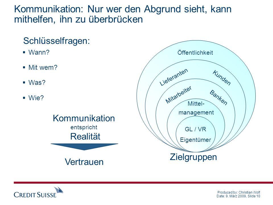 Produced by: Christian Wolf Date: 9. März 2009, Slide 10 Kommunikation: Nur wer den Abgrund sieht, kann mithelfen, ihn zu überbrücken Wann? Mit wem? W