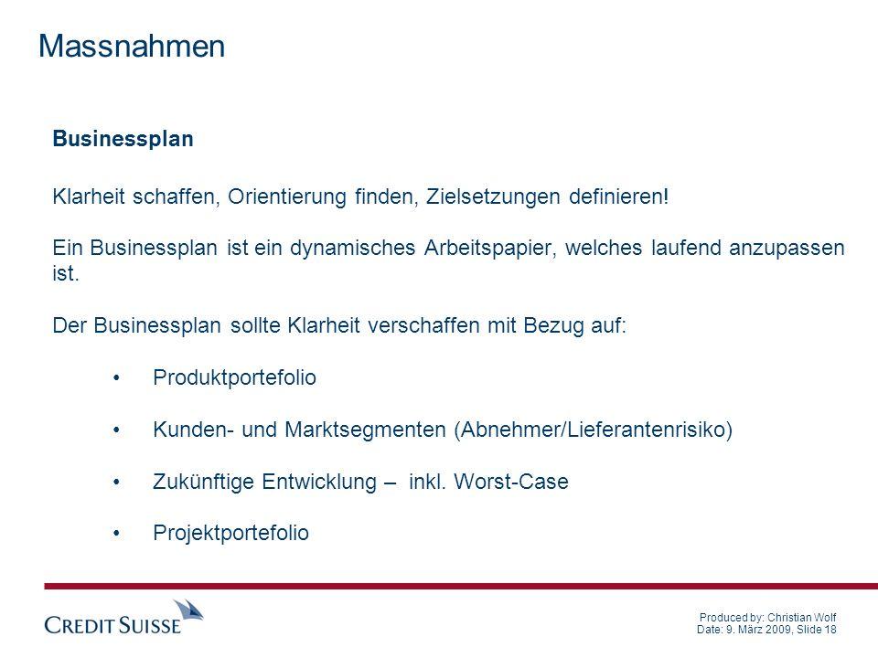 Produced by: Christian Wolf Date: 9. März 2009, Slide 18 Businessplan Klarheit schaffen, Orientierung finden, Zielsetzungen definieren! Ein Businesspl