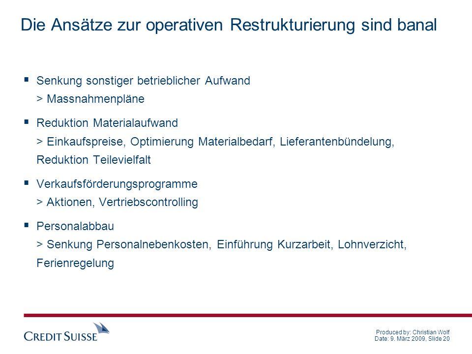 Produced by: Christian Wolf Date: 9. März 2009, Slide 20 Die Ansätze zur operativen Restrukturierung sind banal Senkung sonstiger betrieblicher Aufwan