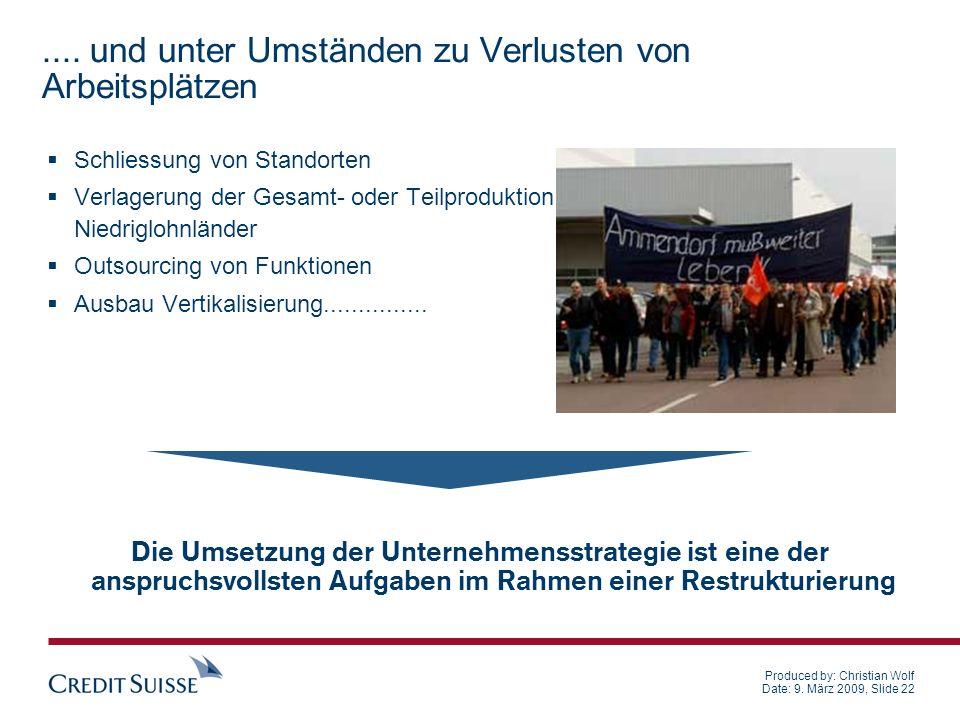 Produced by: Christian Wolf Date: 9. März 2009, Slide 22.... und unter Umständen zu Verlusten von Arbeitsplätzen Schliessung von Standorten Verlagerun