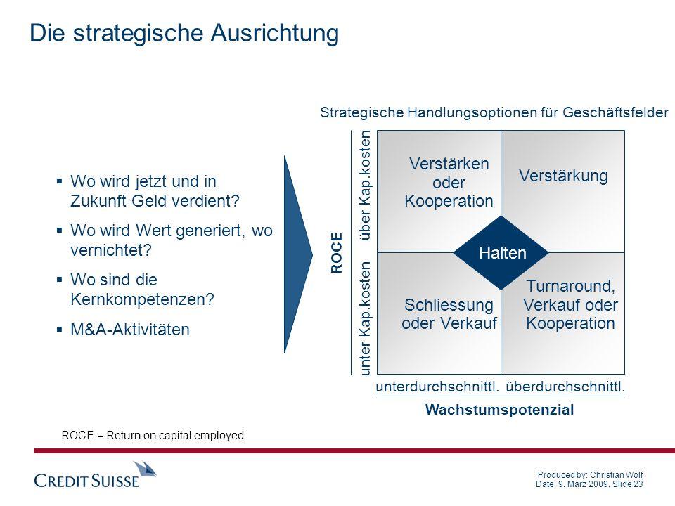Produced by: Christian Wolf Date: 9. März 2009, Slide 23 Die strategische Ausrichtung Wo wird jetzt und in Zukunft Geld verdient? Wo wird Wert generie