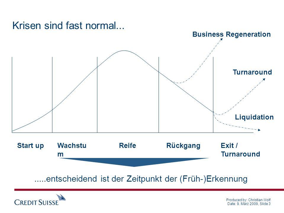 Produced by: Christian Wolf Date: 9. März 2009, Slide 3.....entscheidend ist der Zeitpunkt der (Früh-)Erkennung Krisen sind fast normal... Start upWac
