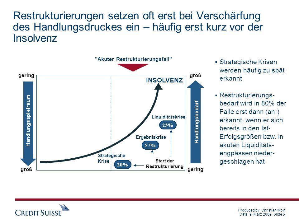 Produced by: Christian Wolf Date: 9. März 2009, Slide 5 Restrukturierungen setzen oft erst bei Verschärfung des Handlungsdruckes ein – häufig erst kur