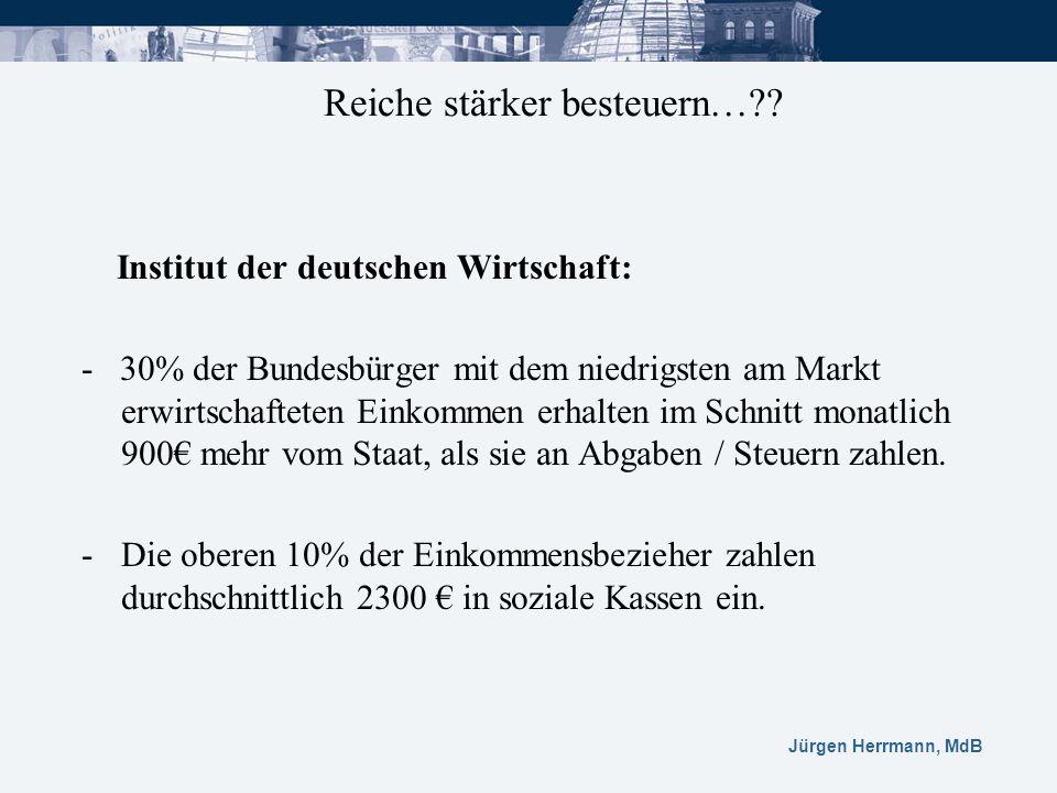 Jürgen Herrmann, MdB Institut der deutschen Wirtschaft: - 30% der Bundesbürger mit dem niedrigsten am Markt erwirtschafteten Einkommen erhalten im Sch