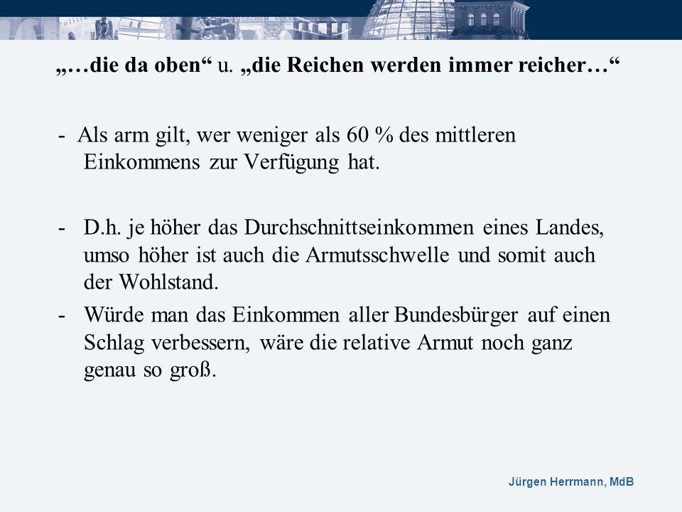 Jürgen Herrmann, MdB - Als arm gilt, wer weniger als 60 % des mittleren Einkommens zur Verfügung hat. -D.h. je höher das Durchschnittseinkommen eines
