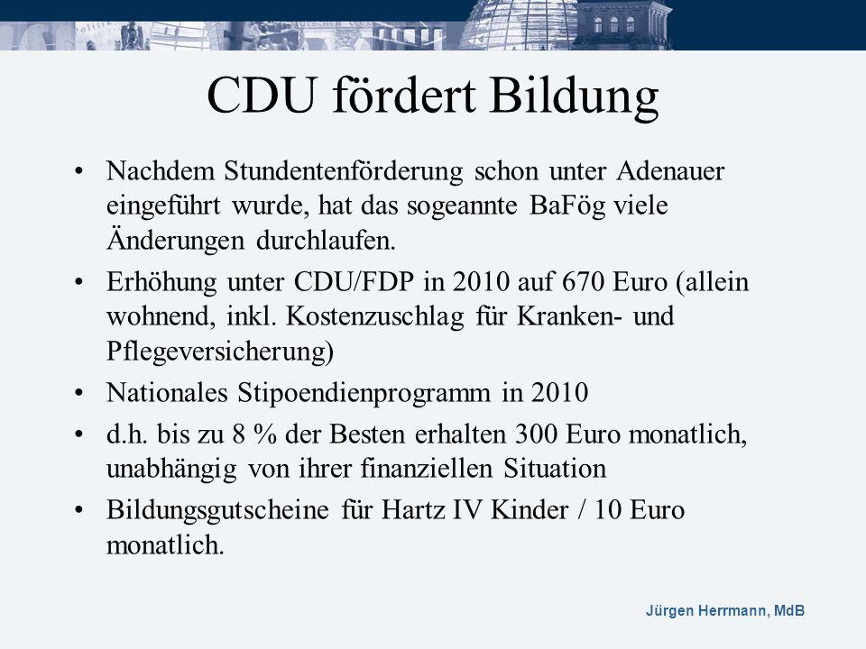 Jürgen Herrmann, MdB CDU fördert Bildung Nachdem Stundentenförderung schon unter Adenauer eingeführt wurde, hat das sogeannte BaFög viele Änderungen d