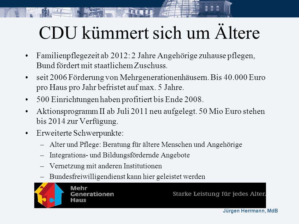 Jürgen Herrmann, MdB CDU kümmert sich um Ältere Familienpflegezeit ab 2012: 2 Jahre Angehörige zuhause pflegen, Bund fördert mit staatlichem Zuschuss.