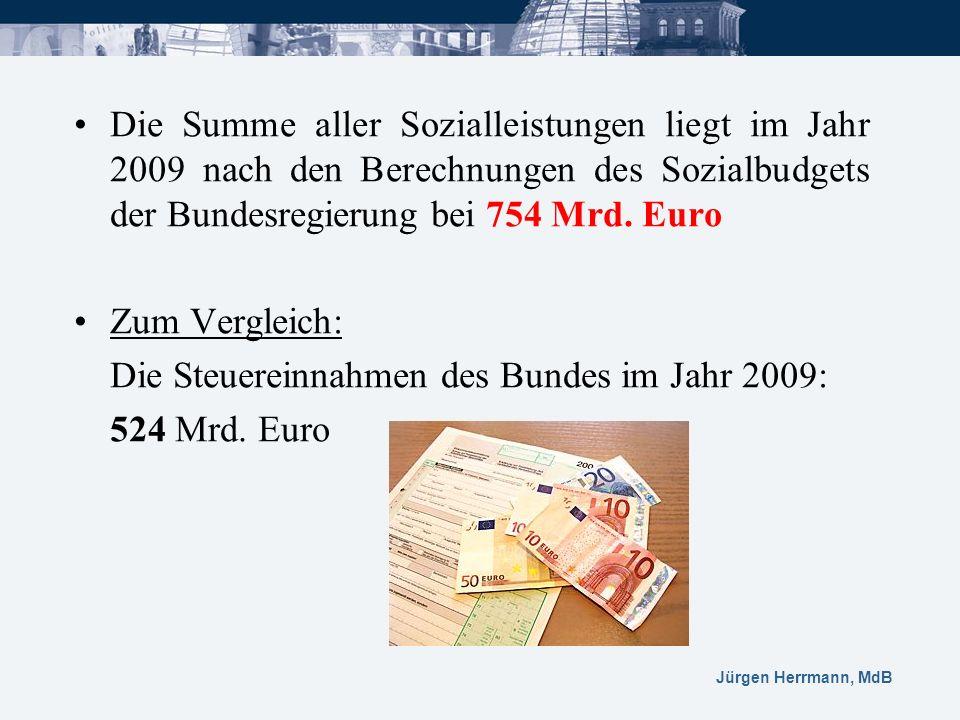 Die Summe aller Sozialleistungen liegt im Jahr 2009 nach den Berechnungen des Sozialbudgets der Bundesregierung bei 754 Mrd. Euro Zum Vergleich: Die S