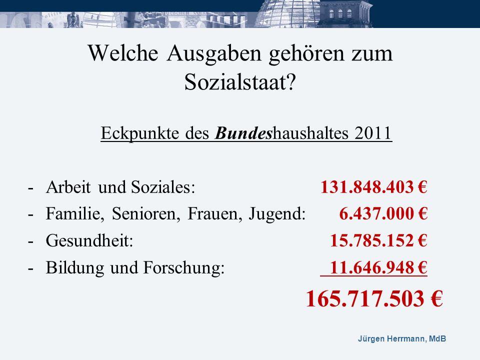 Jürgen Herrmann, MdB Welche Ausgaben gehören zum Sozialstaat? Eckpunkte des Bundeshaushaltes 2011 -Arbeit und Soziales: 131.848.403 -Familie, Senioren