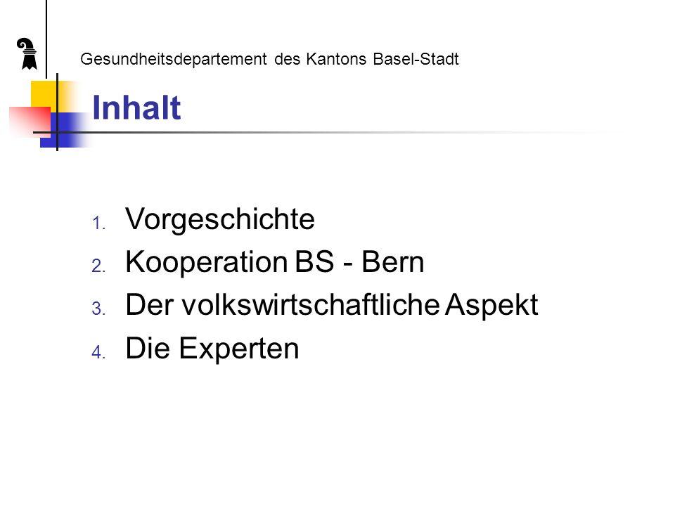 Inhalt 1. Vorgeschichte 2. Kooperation BS - Bern 3.
