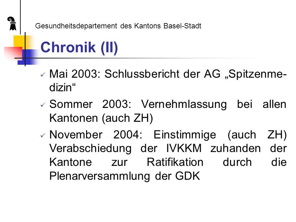 Chronik (II) Mai 2003: Schlussbericht der AG Spitzenme- dizin Sommer 2003: Vernehmlassung bei allen Kantonen (auch ZH) November 2004: Einstimmige (auch ZH) Verabschiedung der IVKKM zuhanden der Kantone zur Ratifikation durch die Plenarversammlung der GDK Gesundheitsdepartement des Kantons Basel-Stadt