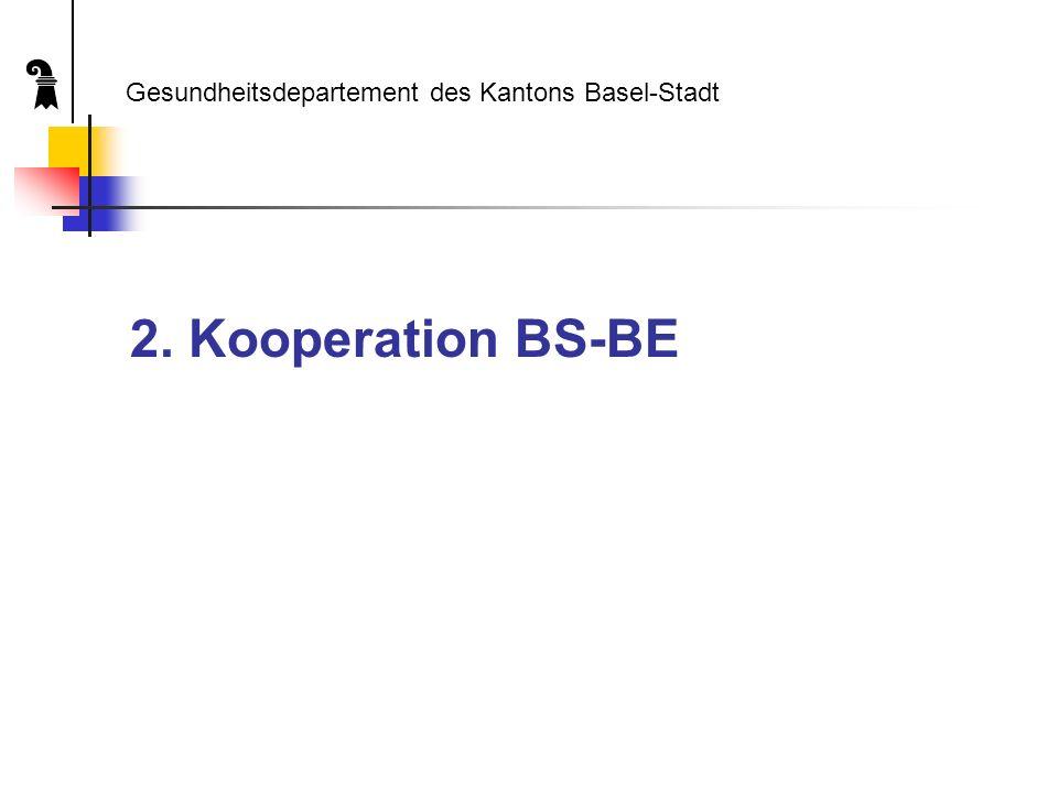 Chronik (I) April 2004: Unterzeichnung der Vereinbarung über die Zusammenar- beit der Medizinischen Fakultäten und Universitätsspitäler Basel und Bern (MBB) durch die zuständigen Erziehungs- und Gesundheitsdirektoren der beiden Kantone Gesundheitsdepartement des Kantons Basel-Stadt