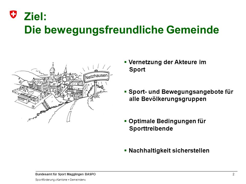 2 Bundesamt für Sport Magglingen BASPO Sportförderung «Kantone + Gemeinden» Ziel: Die bewegungsfreundliche Gemeinde Vernetzung der Akteure im Sport Sp