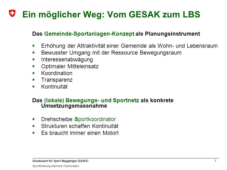 7 Bundesamt für Sport Magglingen BASPO Sportförderung «Kantone + Gemeinden» Ein möglicher Weg: Vom GESAK zum LBS Das Gemeinde-Sportanlagen-Konzept als