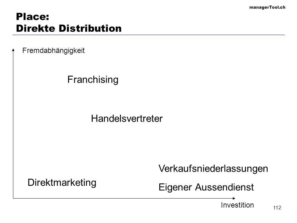 managerTool.ch 112 Place: Direkte Distribution Fremdabhängigkeit Investition Verkaufsniederlassungen Eigener Aussendienst Direktmarketing Handelsvertr