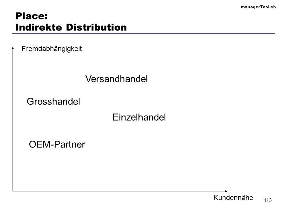 managerTool.ch 114 Place: Auswahl des Vertriebskanals KriteriumDirekter VertriebIndirekter Vertrieb Möglichkeit der Kundenbindung+- Zugang zu Markinfor- mationen +- Flexibilität der Marktbearbeitung +- Investitionsvolumen für den Aufbau -+ Vermeindung von Kapitalbindung -+ Flächendeckende Marktpräsenz -+ Effektivität der Ver- marktung -+