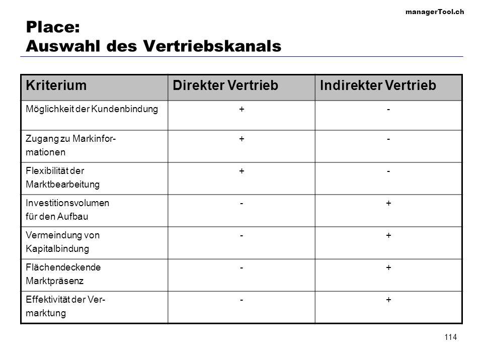 managerTool.ch 114 Place: Auswahl des Vertriebskanals KriteriumDirekter VertriebIndirekter Vertrieb Möglichkeit der Kundenbindung+- Zugang zu Markinfo