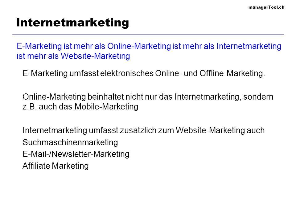 managerTool.ch 121 Website-Marketing Qualität Inhalt (Content is King), Service und Medien-Design Web-Design KISS: Keep it simple, stupid.