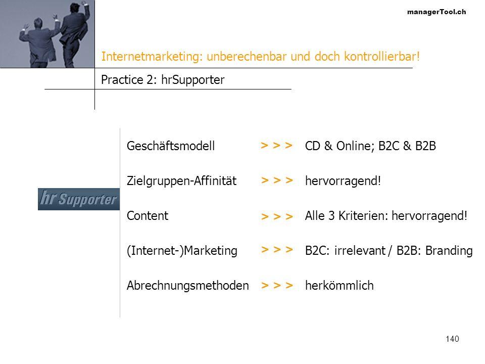managerTool.ch 141 Practice 3: marktschluessel.ch Geschäftsmodell Zielgruppen-Affinität Content (Internet-)Marketing Abrechnungsmethoden > > > Themenportal; B2C & B2B gering.